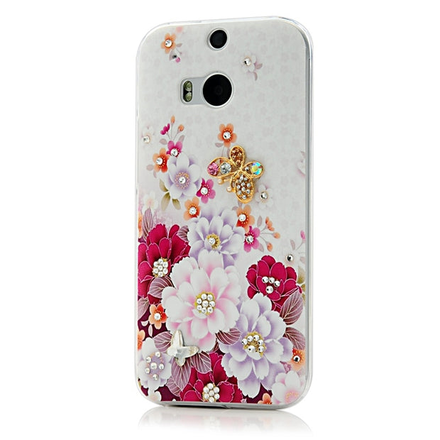 YOKIRIN Rhinestone Case For HTC One M8 Luxury Glitter Crystal Diamond Ultra Slim PC Protective Cover For HTC M8