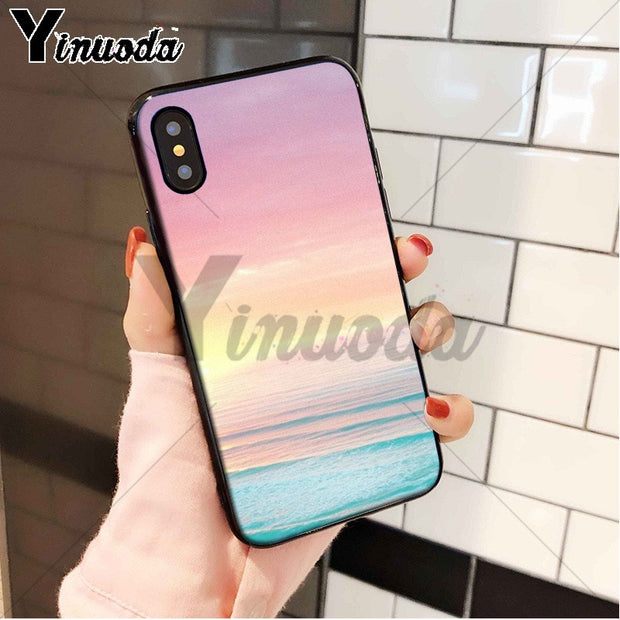 Yinuoda Beach Ocean Floral Scenery Colorful Cute Phone Accessories Case For Apple IPhone 8 7 6 6S Plus X XS MAX 5 5S SE XR