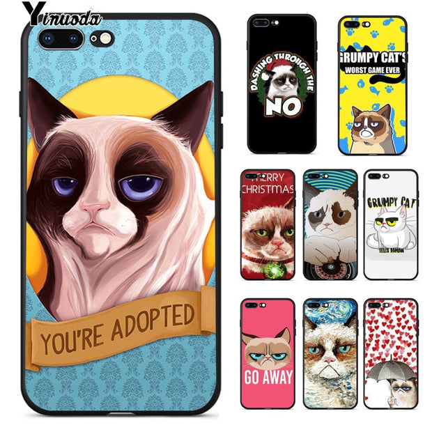 Yinuoda Because Grumpy Cat High Quality Silicone Soft TPU Phone Case For Apple IPhone 8 7 6 6S Plus X XS MAX 5 5S SE XR