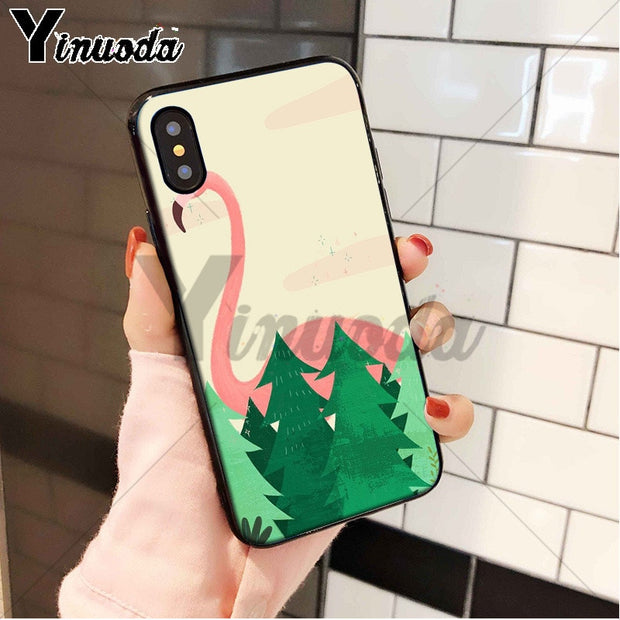 Yinuoda Cartoon Cute Flamingo High Quality Phone Accessories Case For Apple IPhone 8 7 6 6S Plus X XS MAX 5 5S SE XR Cellphones