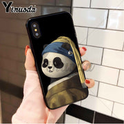 Yinuoda Cute Panda Art Black Soft TPU Phone Case Cover For Apple IPhone 8 7 6 6S Plus X XS MAX 5 5S SE XR Cellphones