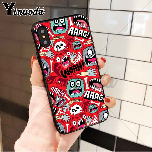 Yinuoda Cute Pinapple Floral Pattern Silicone Soft TPU Phone Case Cover For Apple IPhone 8 7 6 6S Plus X XS MAX 5 5S SE XR Cover