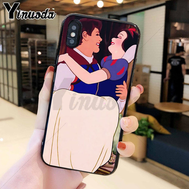 Yinuoda Cute Snow White Princess Black TPU Soft Silicone Phone Case Cover For Apple IPhone 8 7 6 6S Plus X XS MAX 5 5S SE XR