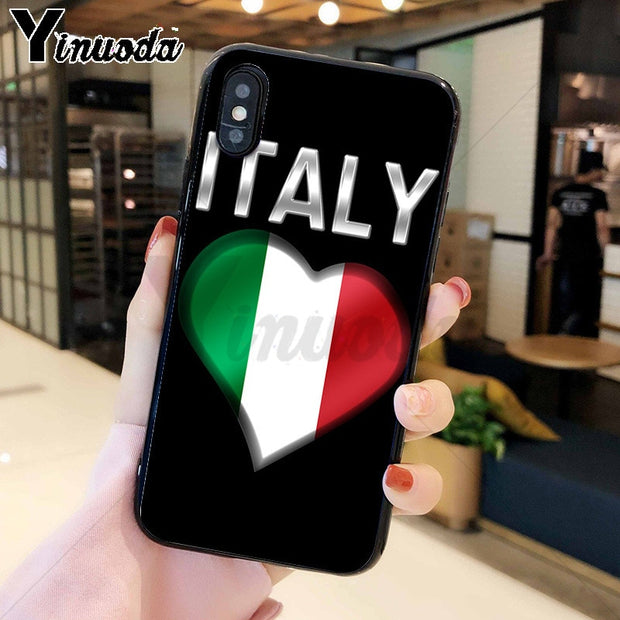 Yinuoda Italy Flag TPU Soft Phone Accessories Cell Phone Case For IPhone 8 7 6 6S Plus 5 5S SE XR X XS MAX Coque Shell