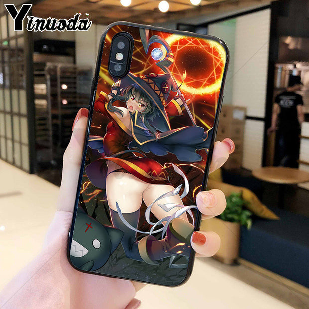 Yinuoda Japan Anime Konosuba Megumin Silicone Soft TPU Phone Case For IPhone 8 7 6 6S Plus 5 5S SE XR X XS MAX Coque Shell