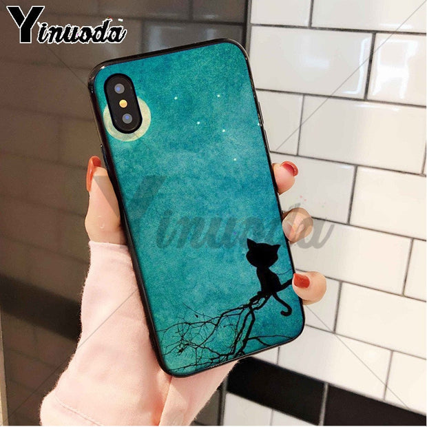 Yinuoda Lonely Cat And Moon Soft Rubber Phone Case For IPhone 8 7 6 6S Plus 5 5S SE XR X XS MAX Coque Shell