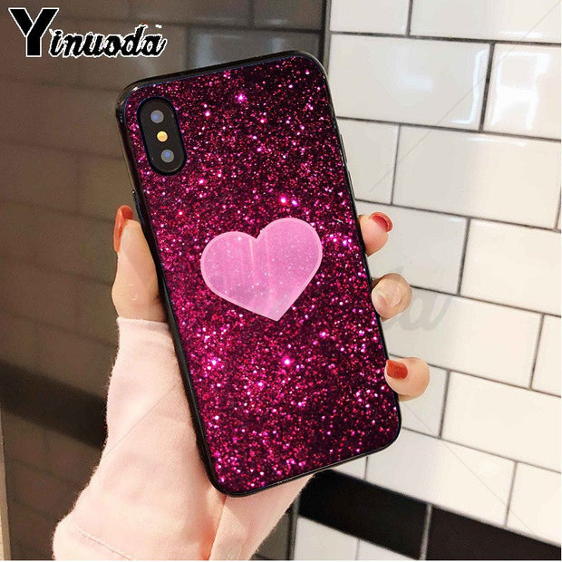 Yinuoda Love Heart Rose Pink Glitter TPU Soft Silicone Phone Case For Apple IPhone 8 7 6 6S Plus X XS MAX 5 5S SE XR Cellphones