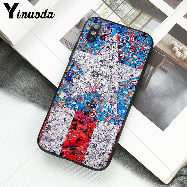 Yinuoda Marvel Avengers Heros Comics Collage Colorful Cute Phone Accessories Case For IPhone 8 7 6 6S Plus 5 5S SE XR X XS MAX