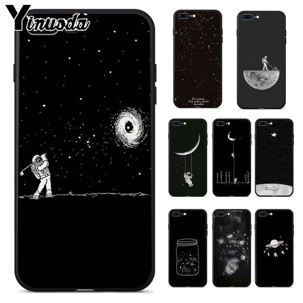 Yinuoda Outer Space Planet Stars Moon Spaceship New Personalized Print Phone Case For IPhone 8 7 6 6S Plus X XS MAX 5 5S SE XR