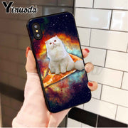 Yinuoda Pizza Cat Black TPU Soft Silicone Phone Case Cover For IPhone 8 7 6 6S Plus 5 5S SE XR X XS MAX Coque Shell