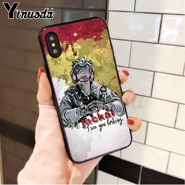 Yinuoda Rainbow Six Siege Black High Quality Phone Case For IPhone 8 7 6 6S Plus 5 5S SE XR X XS MAX Coque Shell