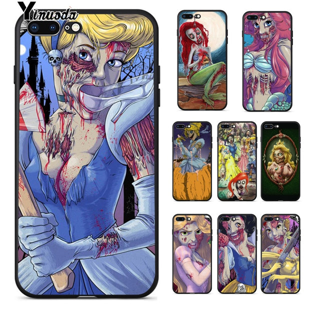 Yinuoda Zombie Princess Mermaid Snow White Cinderella Soft TPU Phone Case Cover For IPhone 8 7 6 6S Plus X XS MAX 5 5S SE XR