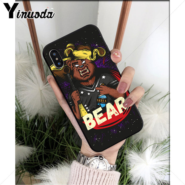 Yinuoda Russian Bear Black High Quality Phone Case For Apple IPhone 8 7 6 6S Plus X XS MAX 5 5S SE XR Cellphones