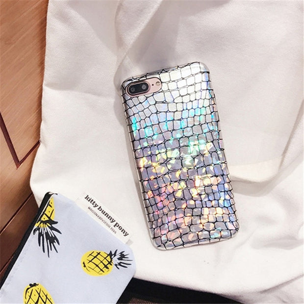 ZRICKIE Shiny Mermaid Scales Patterned Case For IPhone X Cover Sparkly Slim Glossy Phone Coque For IPhone XS MAX 6 6S 7 8 Plus
