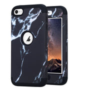 Black Marble Pattern Ultra Slim Shockproof Fullbody Protective Tough Hybrid Armor Drop Protection Case Cover For Ipod Touch 6