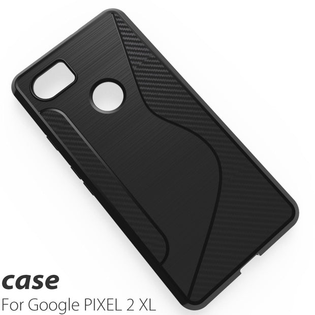 Black Shockproof Anti-skid S Line TPU Gel Skin Case Cover For Google Pixel 2/pixel 2 XL