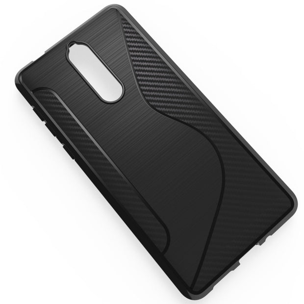 Black Transparent Shockproof Anti-skid S Line TPU Gel Skin Case Cover For Nokia 9
