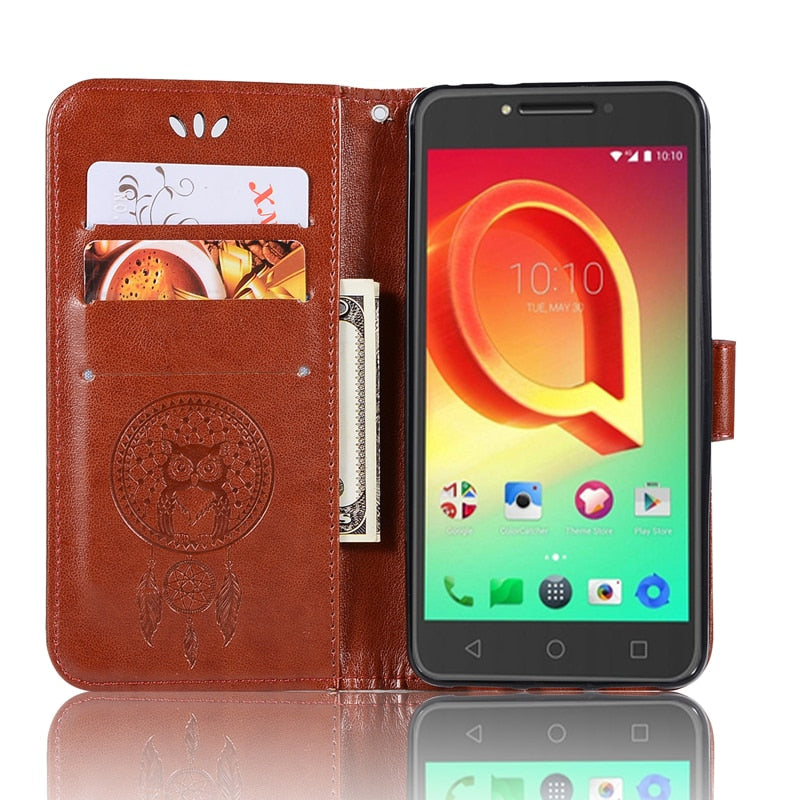 Wallet Cases Effelon New Case For Alcatel A5 Led Pu Leather Case Stand Function Card Holder Embossed Owl Magnetic Flip Wallet Purse Case Cellphones & Telecommunications
