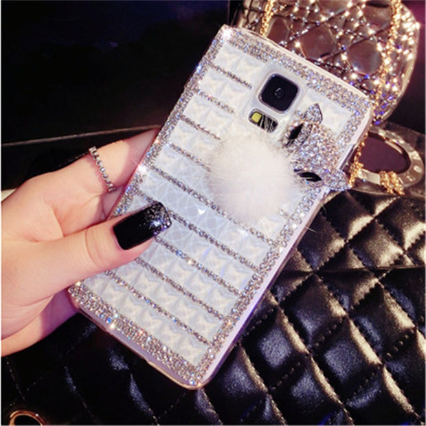 For Samsung Galaxy A3 A3 2016 A3 2017 Diamond Phone Covers Luxury Shining Fox Rhinestone PC Jelly-like Phone Case