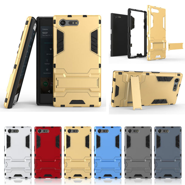 Heavy Shockproof Antishock Kickstand Hybrid Armor Protective Case Cover For Sony Xperia X Compact/Xperia XZ
