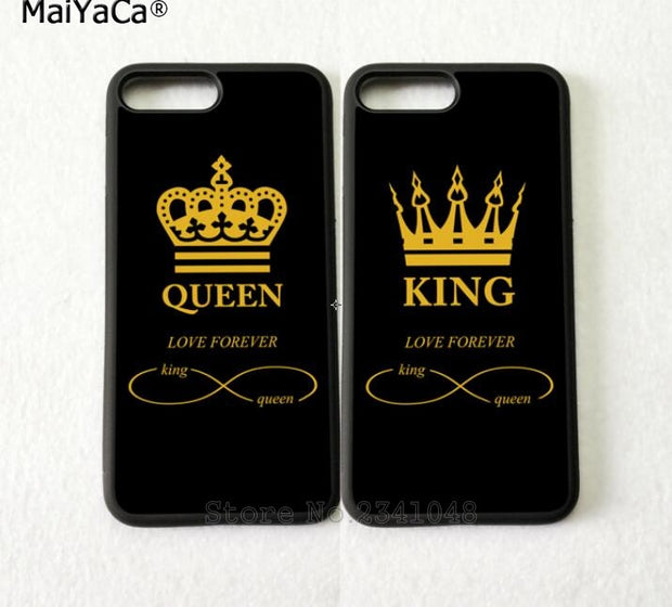 King And Queen Love Forever Best Friends Silicone Softe Edge Phone Cases For IPhone 5s Se 6 6s Plus 7 7plus 8 8plus X XR XS MAX