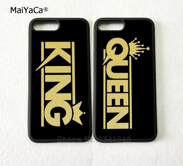 King Queen Couple BFF Best Friends Love Pair Phone Cases For IPhone 5s Se 6 6s Plus 7 7plus 8 8plus X XR XS MAX Cover Case