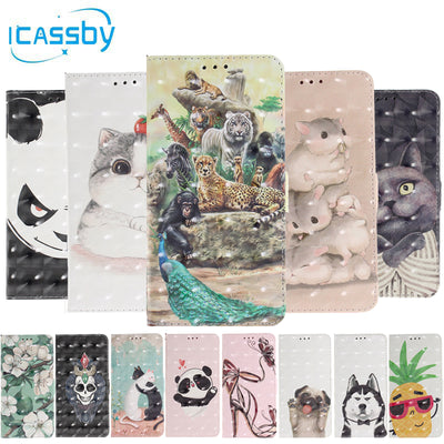 SFor Coque IPhone XR Case 3D Bling Panda Dog Cat Leather Flip Wallet Phone Cases For IPhone XR Cover For IPhone XR Etui Capinha
