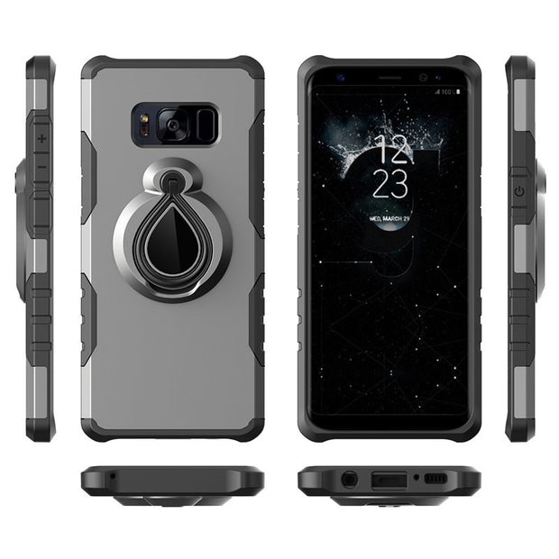 Shockproof 360 Degrees Rotation With Water Drop Ring Grip Holder Kickstand Hard Case For Samsung Galaxy Note 8