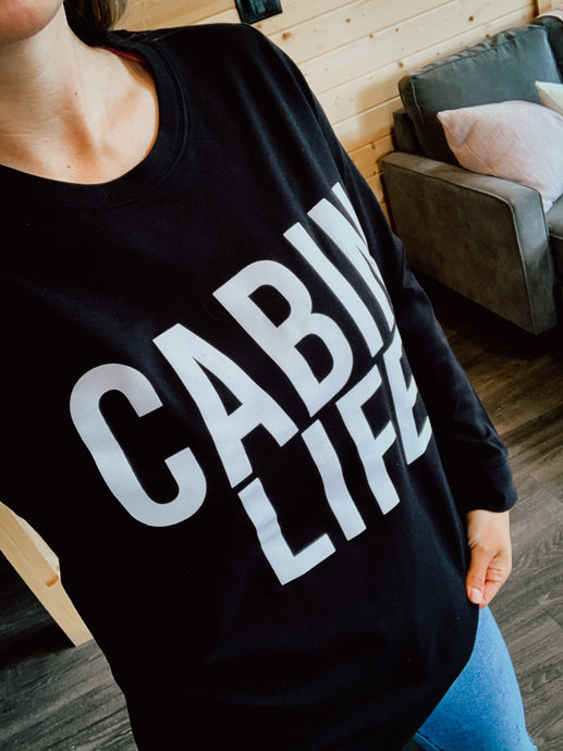 Cabin Life French Terry Crew - Black
