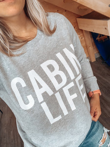 Cabin Life French Terry Crew - Grey