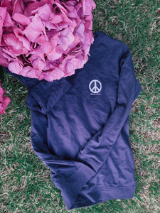 Choose Peace French Terry Crew - Navy