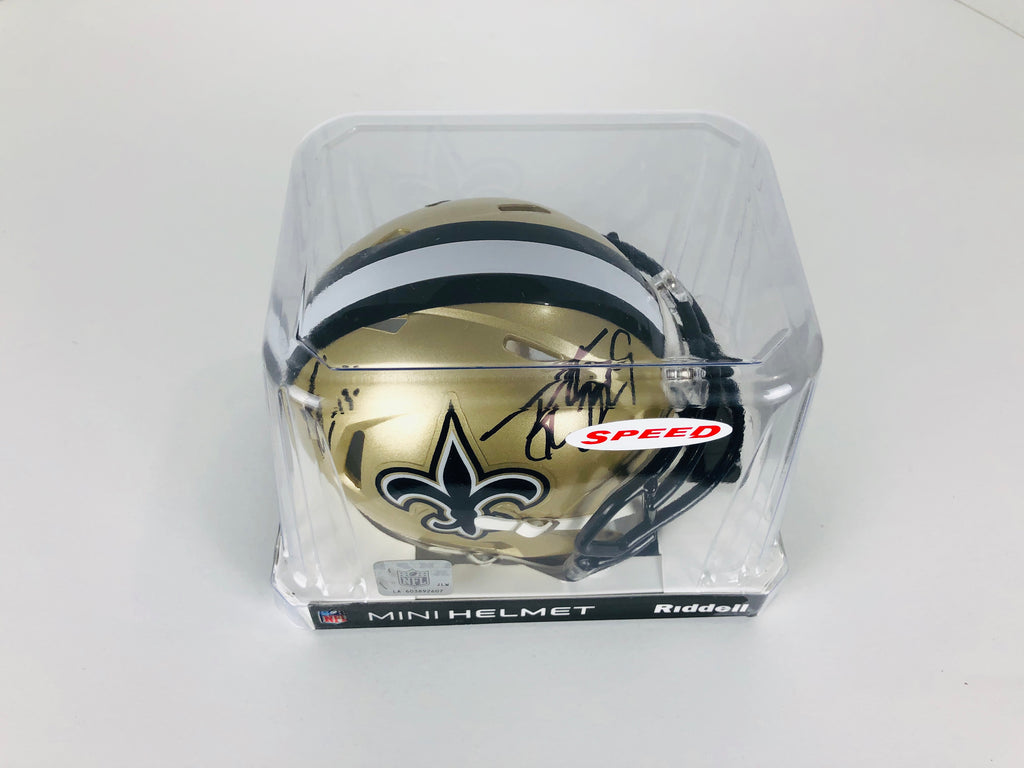 Drew Brees And Michael Thomas Autographed Mini Helmet With COA