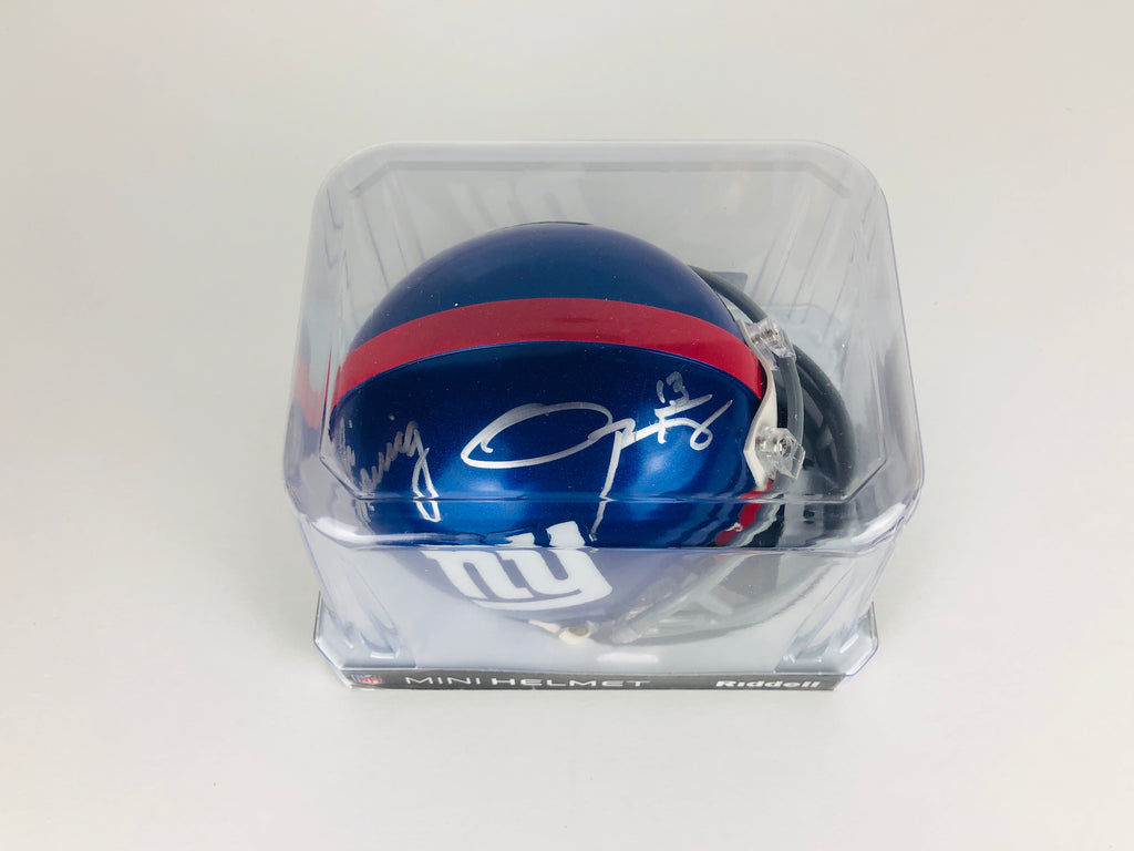 Eli Manning and Odell Beckham Autographed Mini Helmet With COA