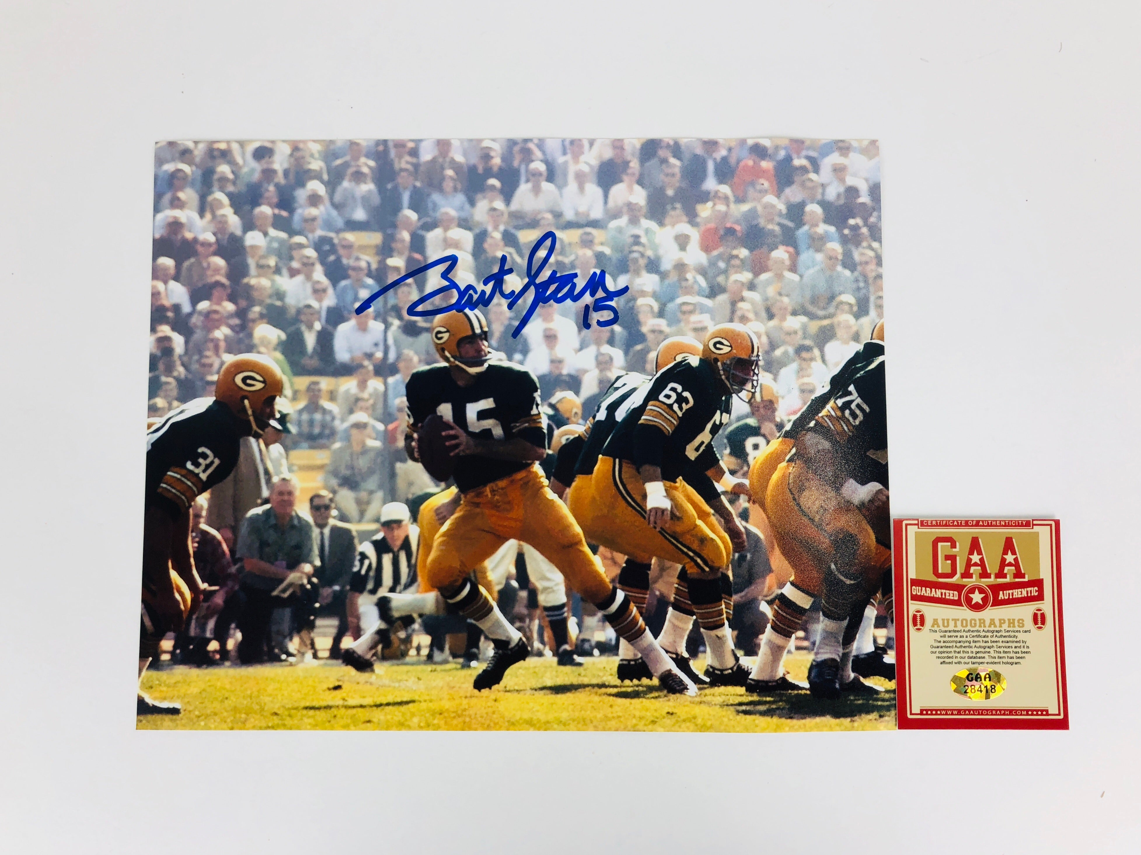 Bart Starr Autograph 8x10 Photo With COA