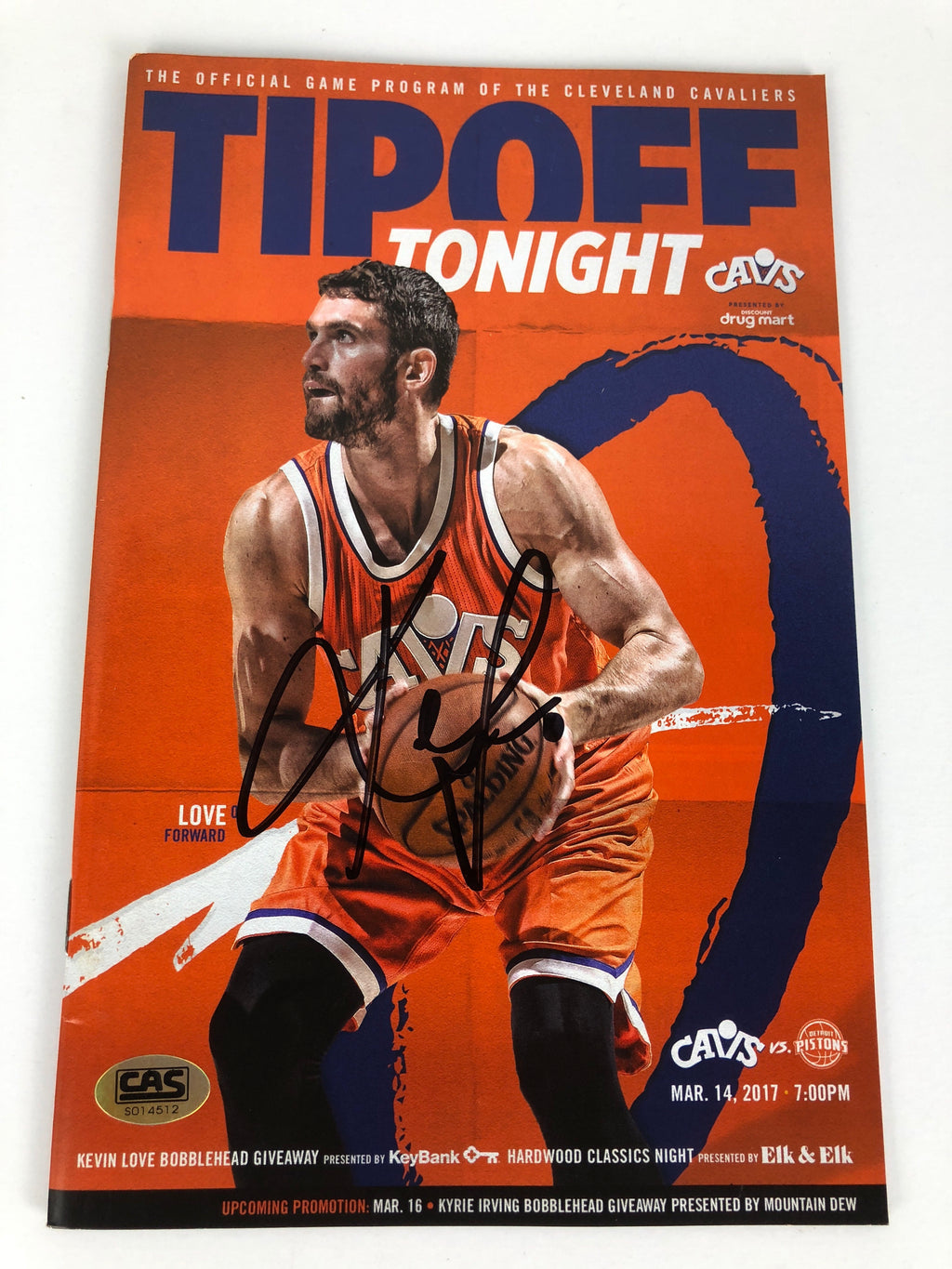 Kevin Love Cavs Autograph Tipoff Program With COA