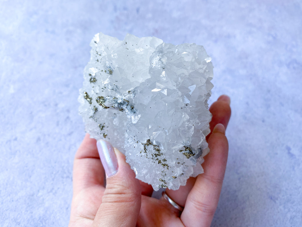 Quartz with Chalcopyrite, Fluorite + Calcite 1