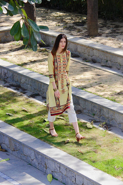 Kilim Printed Kurta with Ivory Chanderi Pants