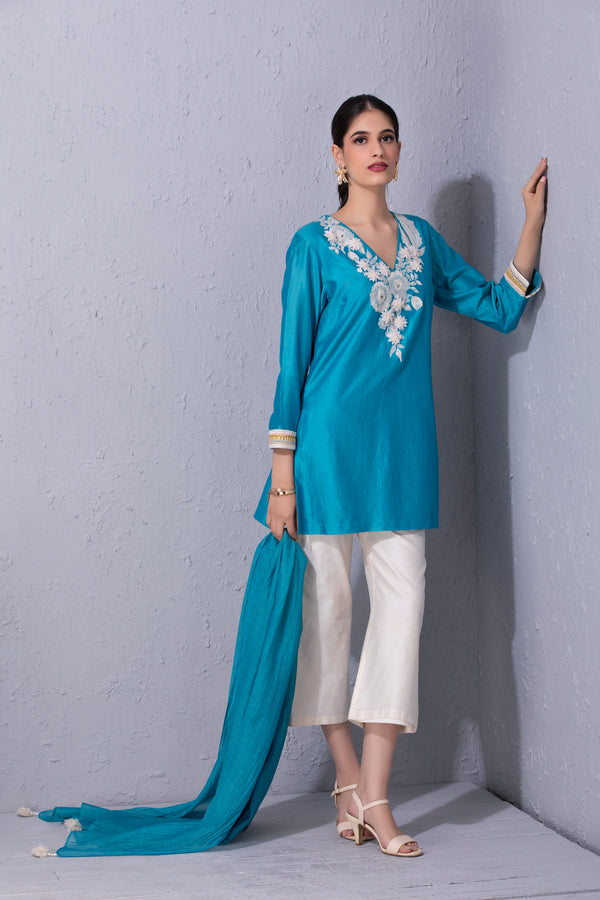 White Garden Kurta Set