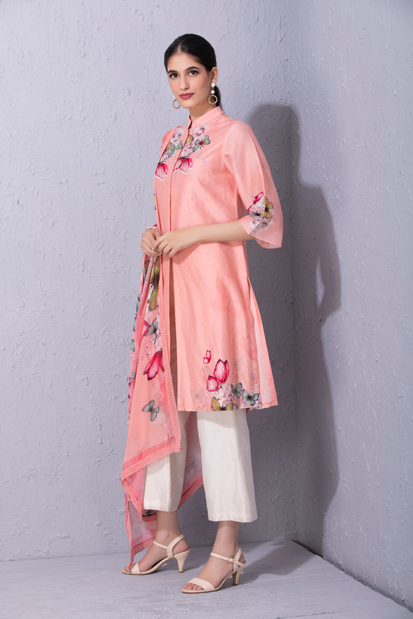 Bubblegum Pink Papillon Front Open Kurta Set