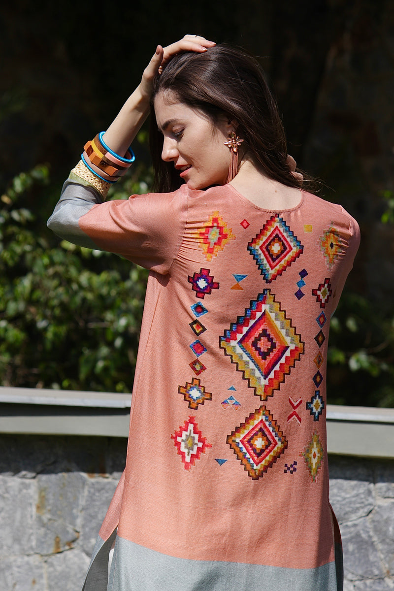 Multicoloured Printed Kurta with Ivory Chanderi Pants