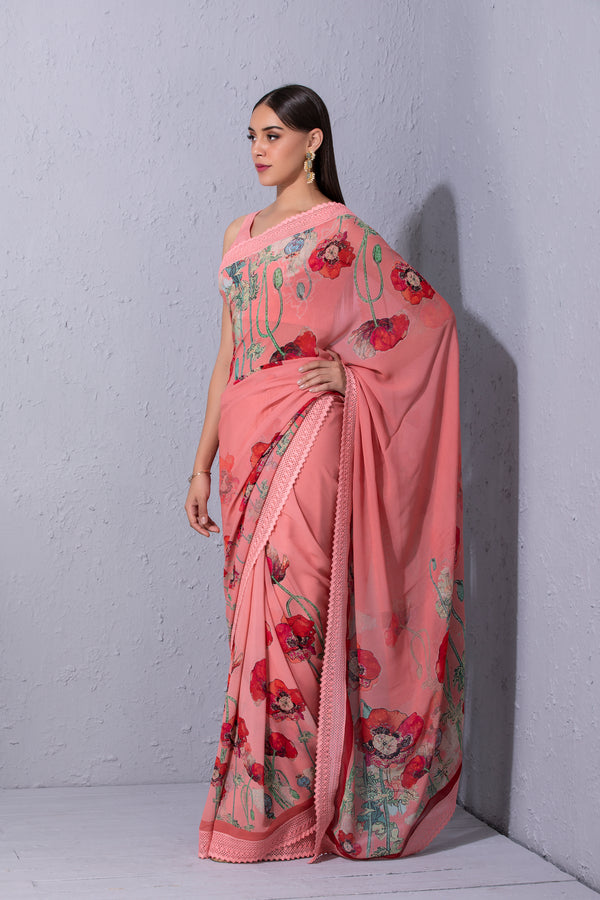 Pomegranate and Poppy Bubblegum Pink Printed Saree
