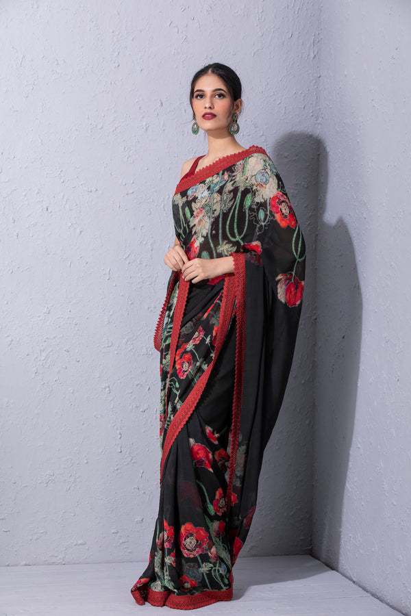 Pomegranate and Poppy Bottle Green Printed Saree