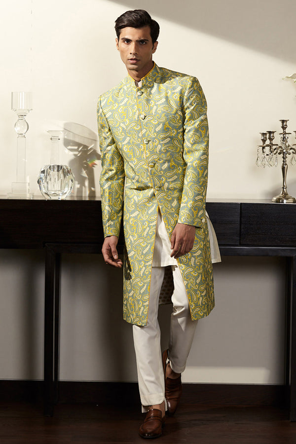 Green Printed Sherwani