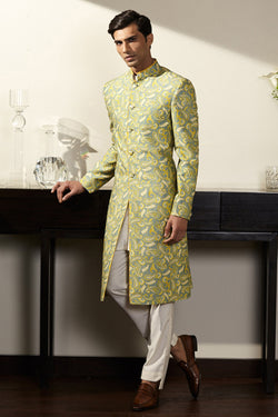 Green Printed Bandhgala Set