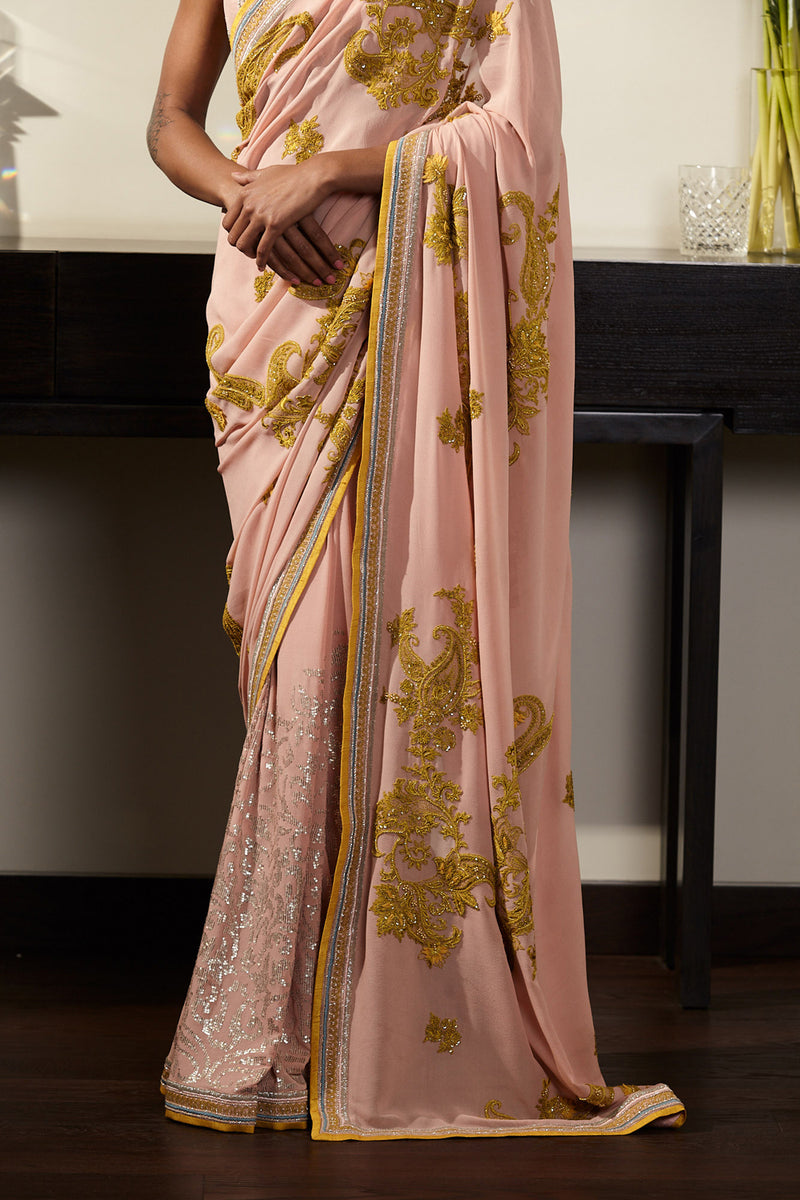 Blush Pink Saree Set