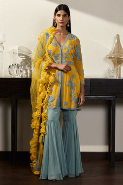 Mustard and Pale Blue Sharara Set in Pure Georgette