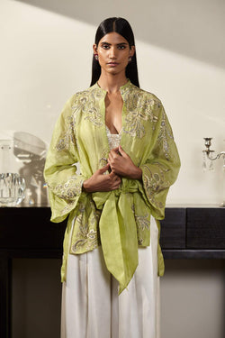 Satin Organza Hand Embroidered Kimono Jacket with Silk Satin Trousers