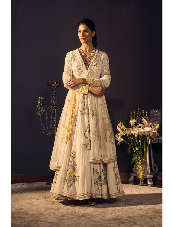 Ivory and Yellow Anarkali Set