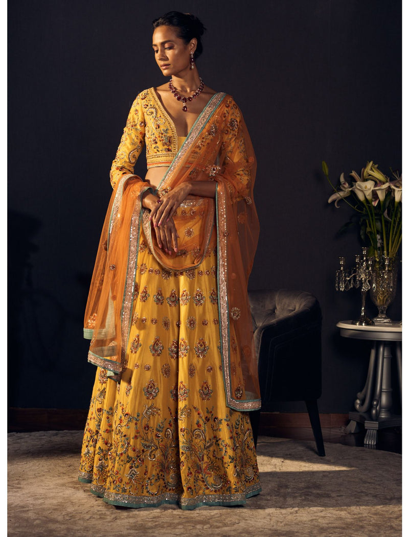 Mustard Lehenga Set in Chinese Raw Silk