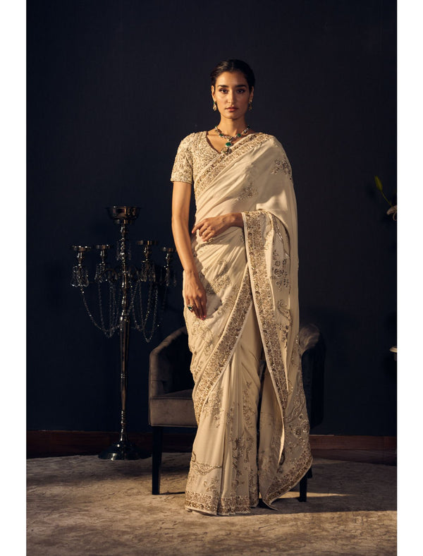 Ivory Coloured Saree Set in Pure Georgette